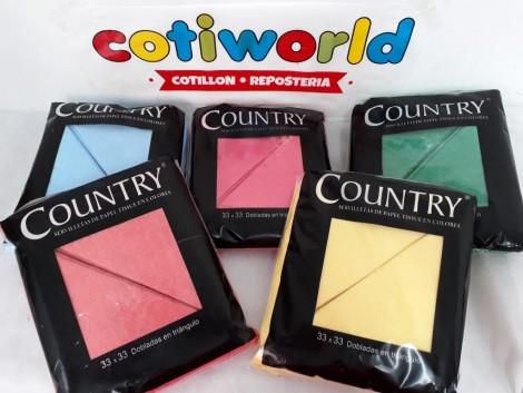 "Servilletas de colores ""Country"" x40 unidades."