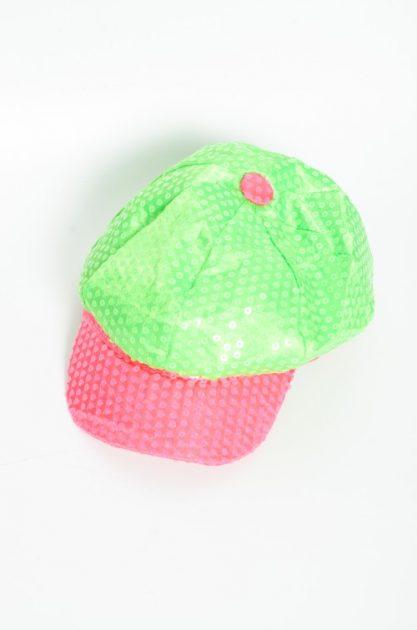 Sombrero con lentejuelas verde y fucsia