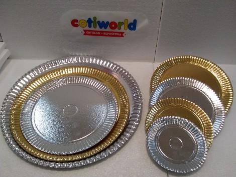 Bandeja de carton para torta redonda (doradas y plateadas)