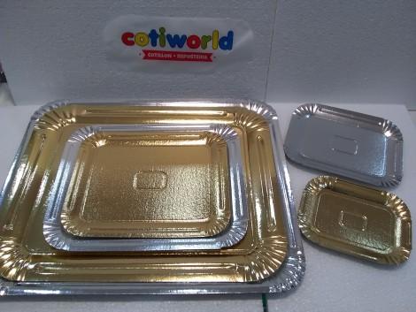 Bandeja para torta rectangular de carton (doradas y plateadas)