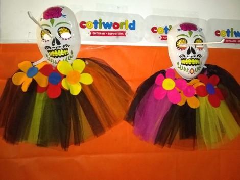 Set de calacas con tutu y mascaras