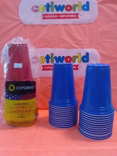 """Vasos plastico """"Estilo Americano"""" x25unid. x color.( 400ml)"""