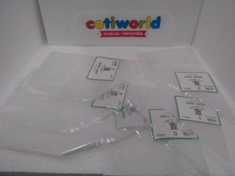 Mangas de plastico descartables x paquete de 10unid.