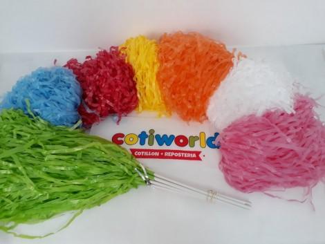 Porras de seda de colores x10 unidades