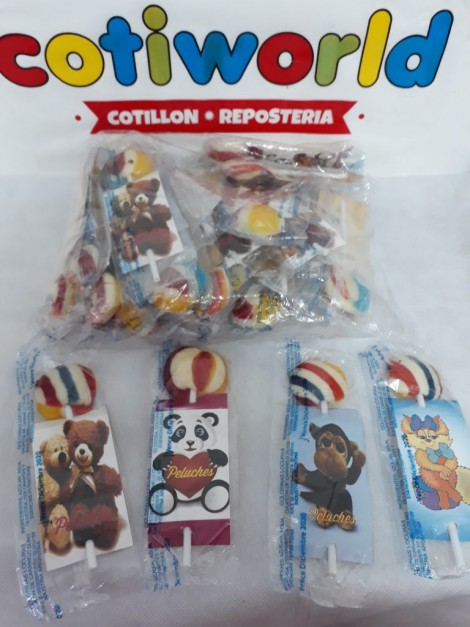 Chupetines con figuritas de peluche x30 unidades