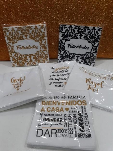 Servilletas de papel estampadas con frases x20 unidades.