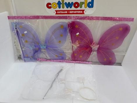 Set de alas mariposa con vincha y varita