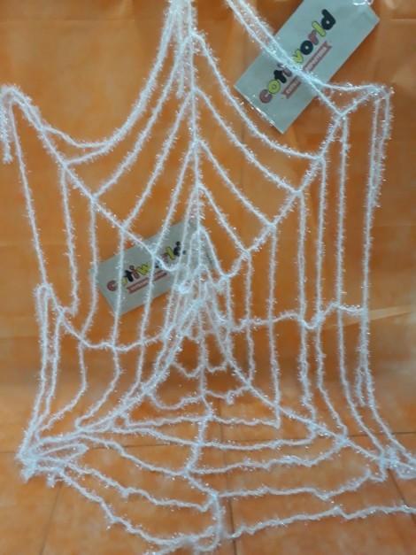Tela araña gigante de lurex en blanco y negro