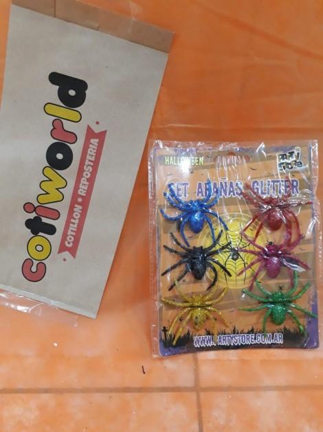 Set de arañas con gliter x6 unidades